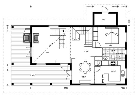 Ku153 planta baja 100x100madera for Diseno casa planta baja